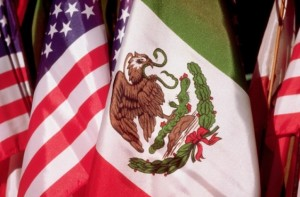 Mexican, US Flags