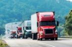 Several Trucks on Road